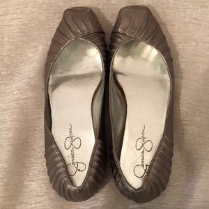 Silver Flat-Toe Ballet Flats by Jessica Simpson
